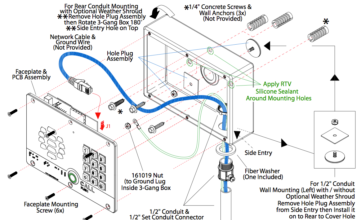 Buy Voip Door Phone Systems Sip Intercoms 4 Gang Schematic Box Wiring Diagram On Board